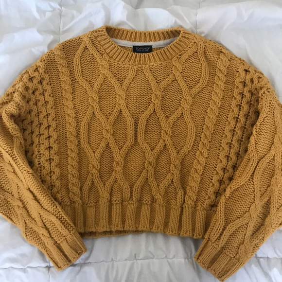 d5fd4cae546 Yellow Topshop Cable Knit Crop Sweater